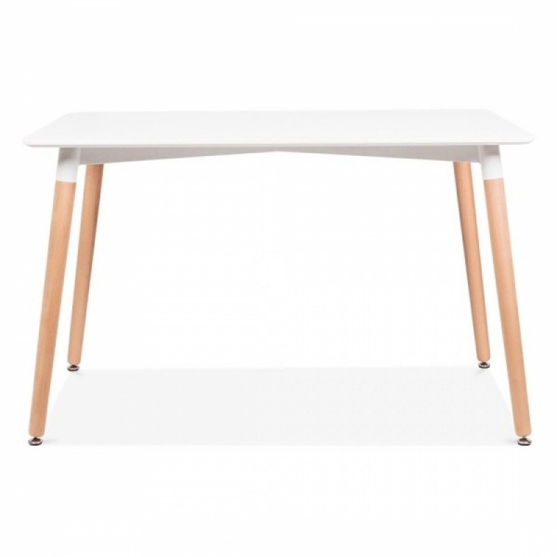 Правоъгълна трапезна маса TABLE RT white 120x80 см, бял плот