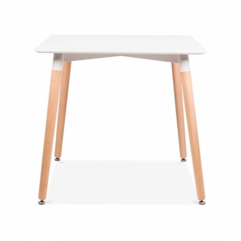 Квадратна трапезна маса TABLE SQ white 80x80 см,  бял плот