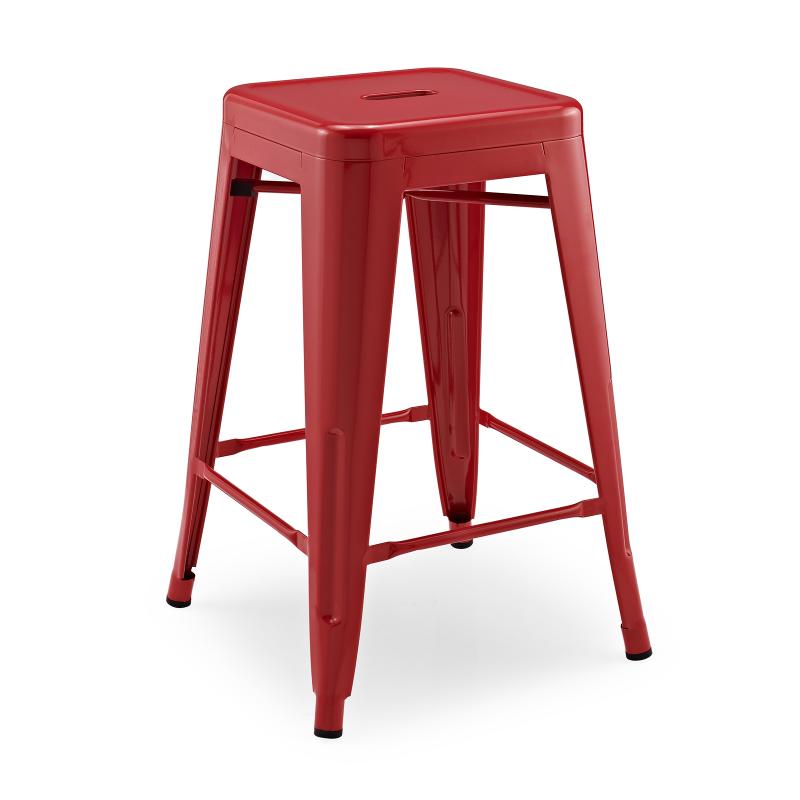 Метален бар стол червен, TEXAS...