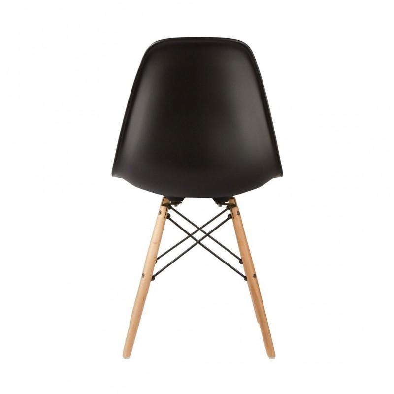 Модерен стол с дървени крака, EMS Black, черен