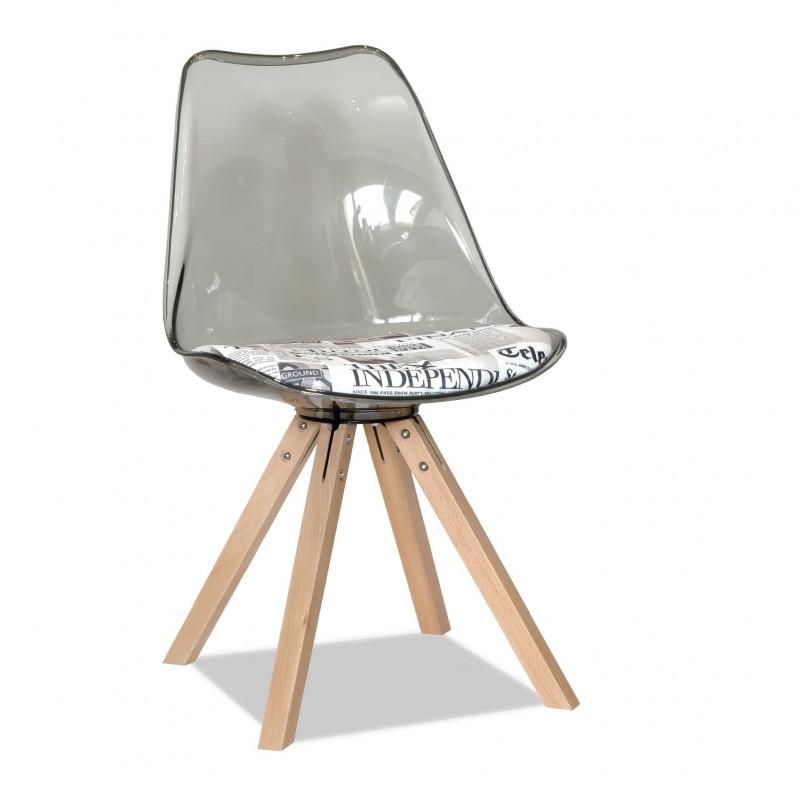 Трапезен прозрачен стол с д...