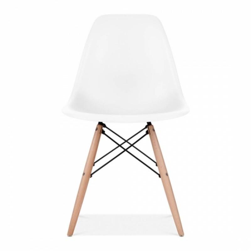 Модерен стол с дървени крака, EMS white, бял