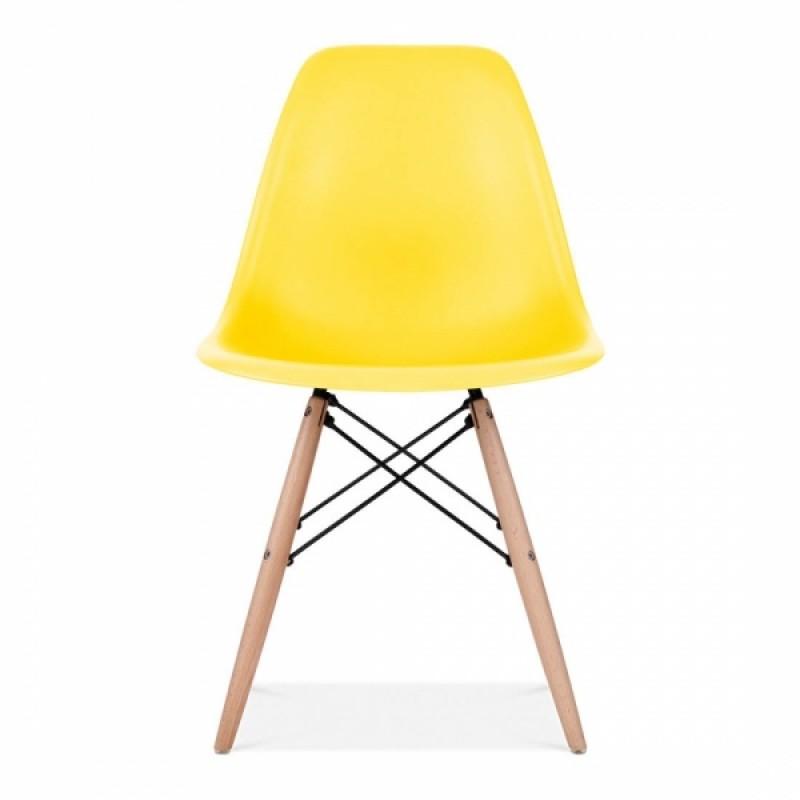 Модерен стол с дървени крака, EMS Yellow, жълт