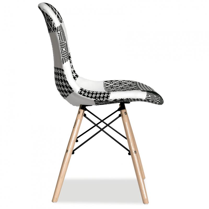 Тапициран дизайнерски стол, EMS FAB черно-бял