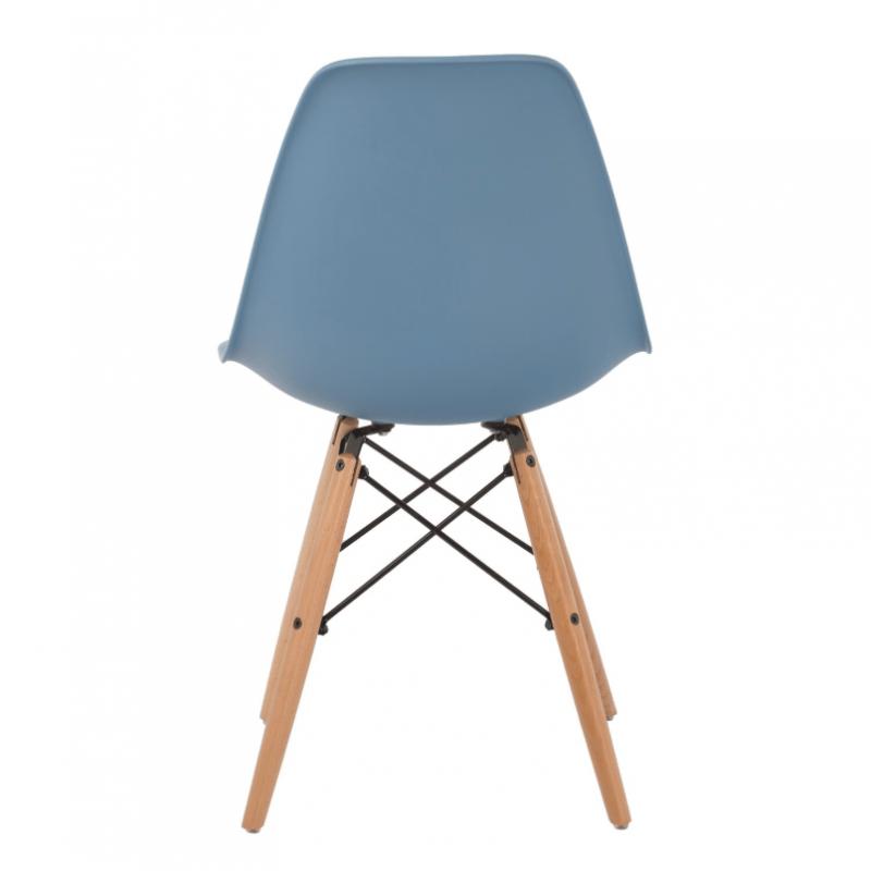 Модерен стол с дървени крака, EMS blue, син