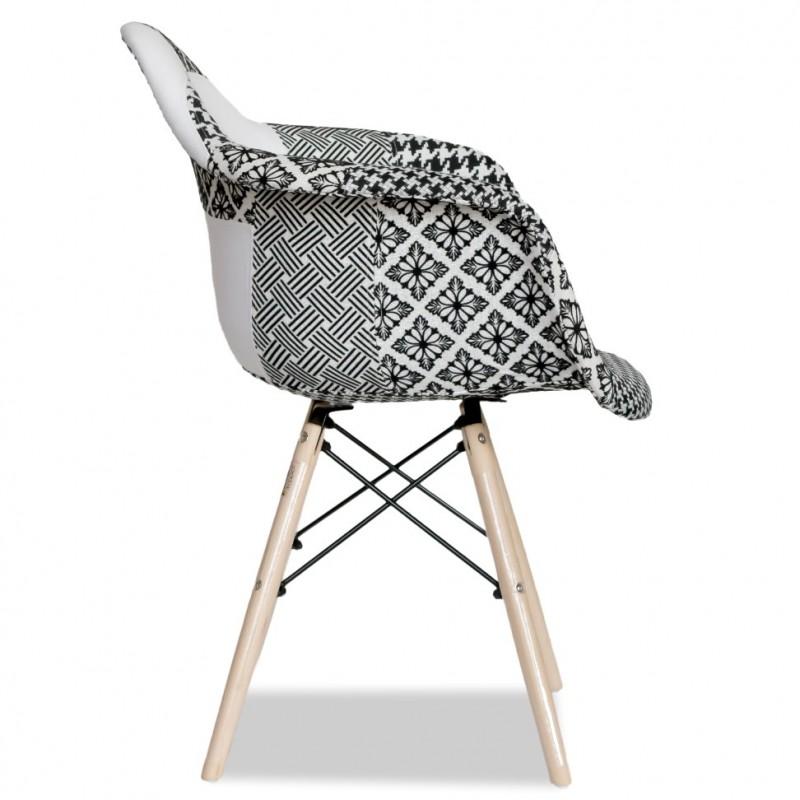 Тапицирано дизайнерско кресло EMS ARM Fab, черно-бяло