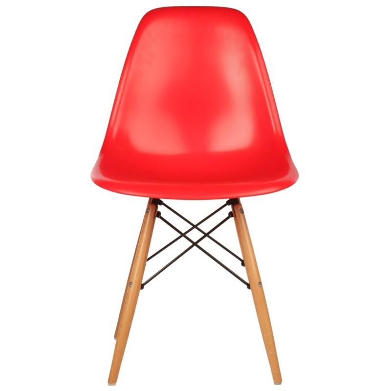 Модерен стол с дървени крака, EMS red, червен