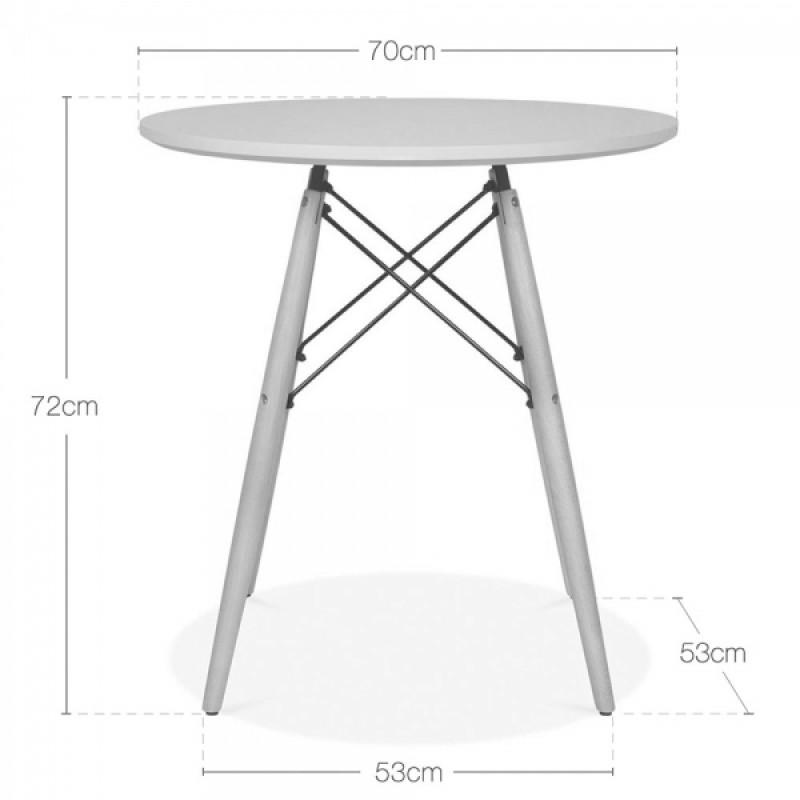 Трапезен комплект маса EMS white 80 см и 4 стола с дървени крака EMS white