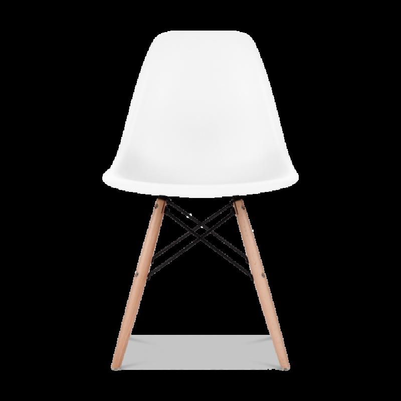 Трапезен комплект маса EMS white 80 см и 2 стола с дървени крака EMS white