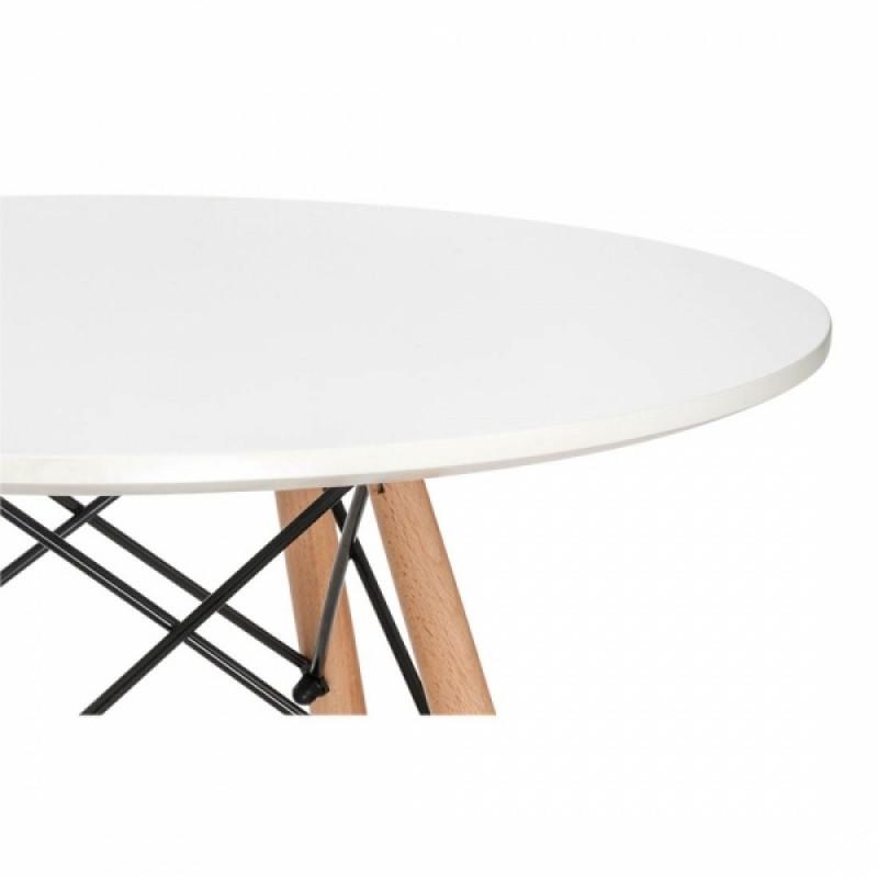 Кръгла трапезна маса EMS TABLE white 80 см, бял плот