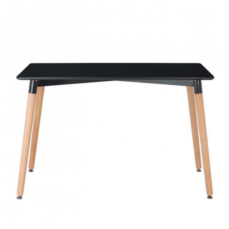 Правоъгълна трапезна маса TABLE RT black 120x80 см, черен плот