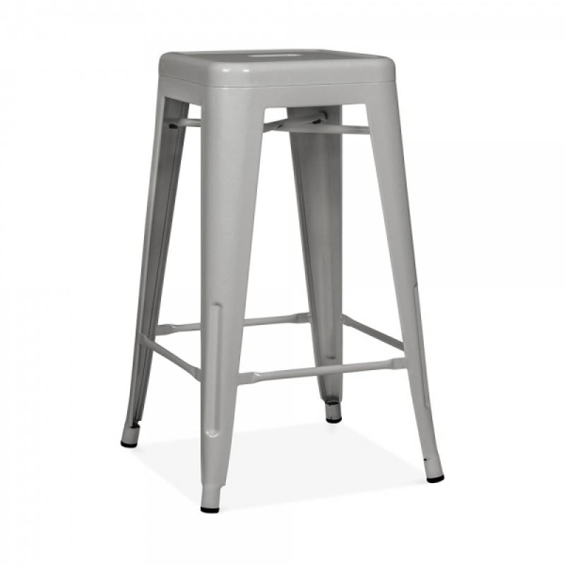 Метален бар стол сив, TEXAS STOOL...